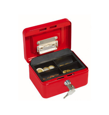 Geldkassette Stahl mit Griff rot 160x120x75mm Gr.1