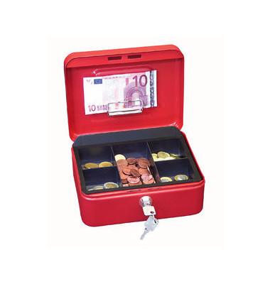 Geldkassette 145 Größe 2 rot 200x160x90mm mit Scheinhalterung im Deckel