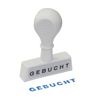 """Stempel mit Text """"GEBUCHT"""" weiß"""