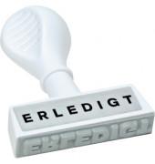 """Stempel mit Text """"ERLEDIGT"""" weiß"""
