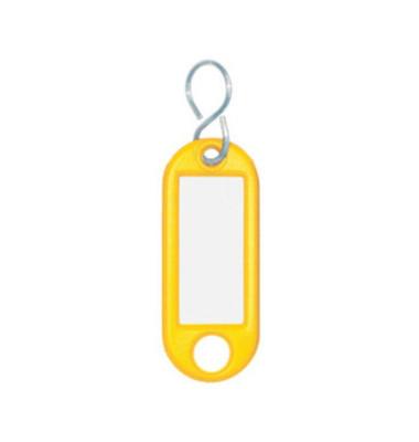Schlüsselanhänger mit Etikett S-Hacken gelb