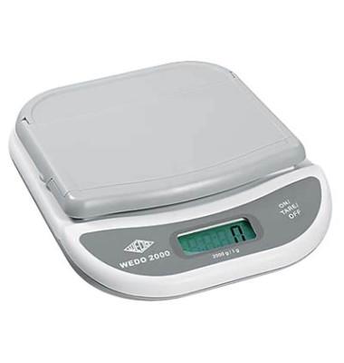 Briefwaage elektronisch bis 2kg mit Klappteller weiß/grau 20,5x17x4,2