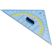 Kunststoff-Geodreieck 527 glasklar 25cm mit abnehmbarem Griff