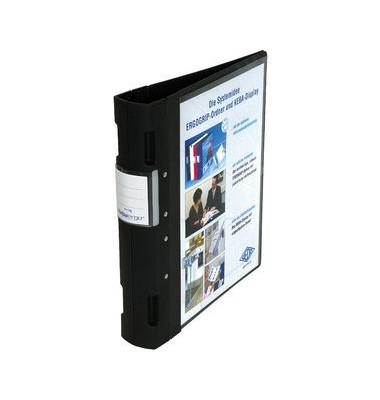 Präsentations-Ringbuch Ergogrip 58-18001 A4 schwarz 4-Ring Ø 55mm Kunststoff