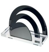 Briefständer Acryl Exklusiv, 2 Fächer, farblos/schwarz, glasklar