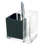 Stifteköcher Acryl Exklusiv, 2 Fächer, farblos/schwarz, glasklar