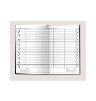 Buchkalender Ultraplan 1Tag/2Seiten dunkelblau 19x27,5cm Jahresunabhängig