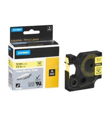 Schriftbandkassette, Rhino, permanent schwarz auf gelb 12mm x 5,5m
