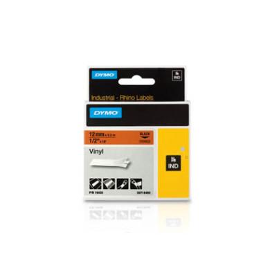 Schriftbandkassette, Rhino, permanent schwarz auf orange 12mm x 5,5m
