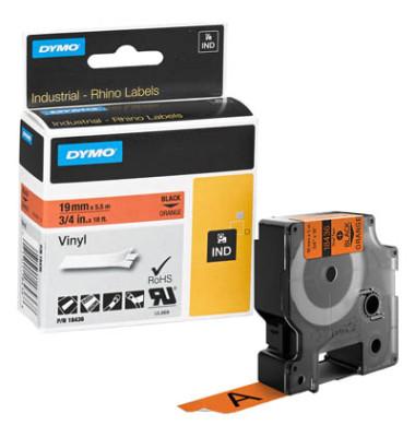 Schriftbandkassette, Rhino, permanent schwarz auf orange 19mm x 5,5m