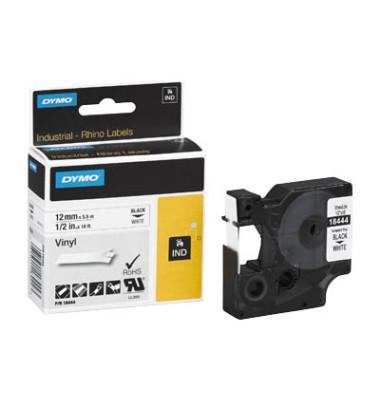 Schriftbandkassette, Rhino, permanent schwarz auf weiß 12mm x 5,5m