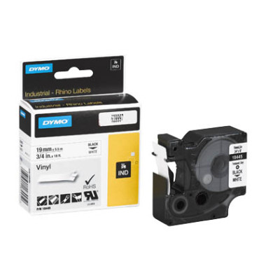 Schriftbandkassette, Rhino, permanent schwarz auf weiß 19mm x 5,5m