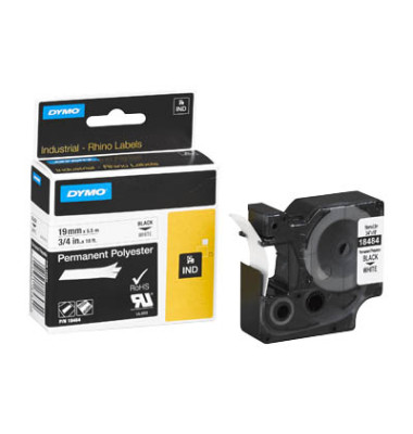 Schriftbandkassette Rhino, sk, permanent schwarz auf weiß 19mm x 5,5m