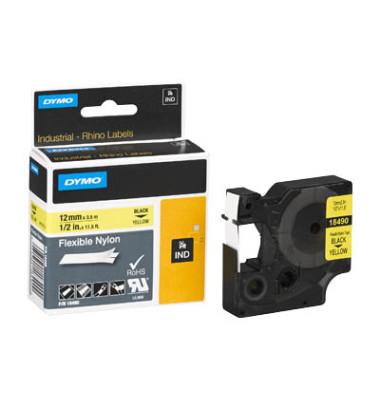 Schriftbandkassette, Rhino, Nylon schwarz auf gelb 19 mm x 3,5 m