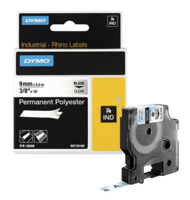 Schriftbandkassette, Rhino, sk, permanent 9mm x 5,5m