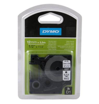 D1 Nylon-Schriftband S0718040 12mm x 3,5m schwarz/weiß flexibel selbstklebend