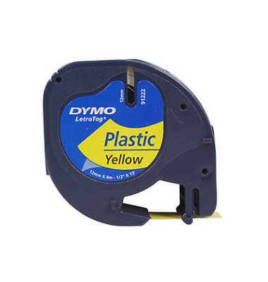 Plastikband für LetraTag gelb 12mm x 4m Druck sw