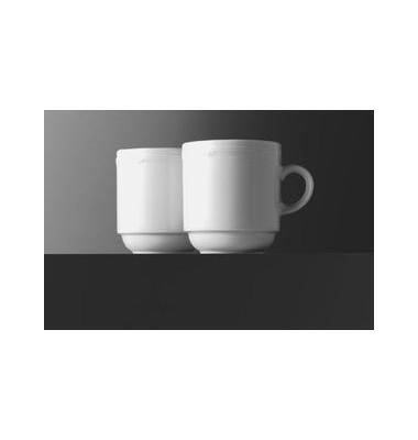 Kaffeetasse Minoa 260ml weiß Porzellan stapelbar