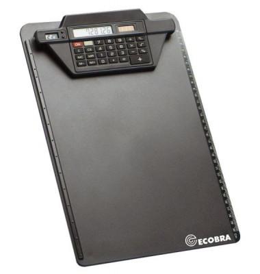 Schreibplatte A4  schwarz mit Rechner       Ecob