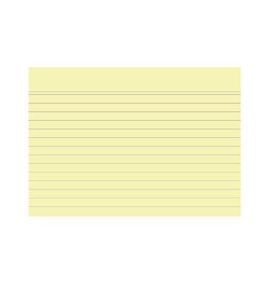 Karteikarten 10829S A6 liniert 205g gelb 100 Stück