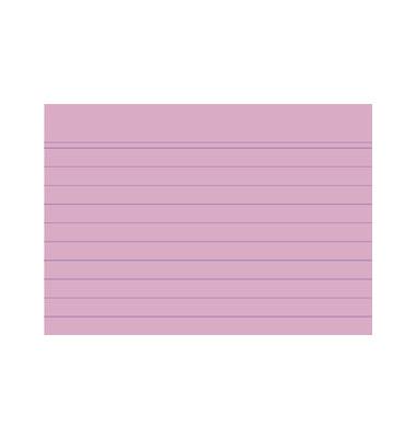 Karteikarten 10830S A7 liniert 205g rosa 100 Stück