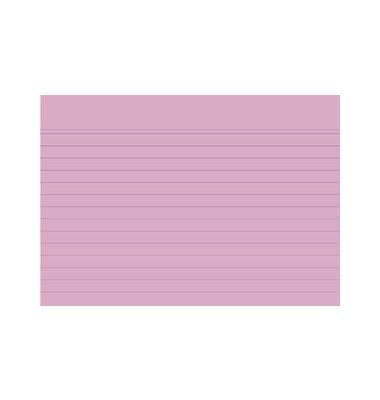 Karteikarten 10839S A6 liniert 205g rosa 100 Stück