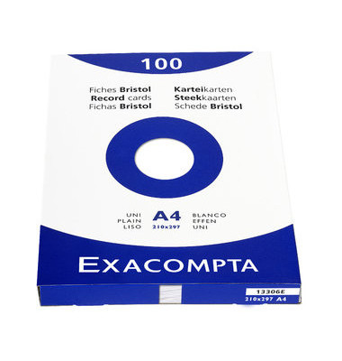 Karteikarten 13306S A4 blanko 205g weiß 100 Stück