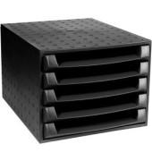 Schubladenbox The Box 221014D schwarz/schwarz 5 Schubladen offen