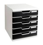 Schubladenbox Modulo A4 lichtgrau/schwarz 5 Schubladen geschlossen