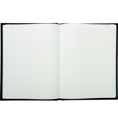 Geschäftsbuch 413E schwarz A4 kariert 110g 150 Blatt 300 Seiten paginiert