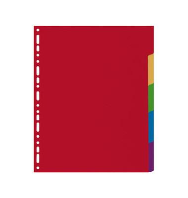 Kunststoffregister 4905E blanko A4 0,35mm farbige Taben 5-teilig