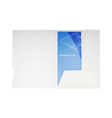 Präsentionsmappe Chromolux 2t. weiß 24x32cm Maxi