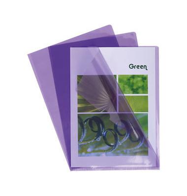 Sichthüllen 660505E, A4, violett, klar-transparent, glatt, 0,13mm, oben & rechts offen, PVC