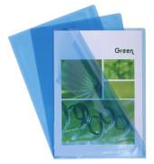 Sichthüllen 660525E, A4, blau, klar-transparent, glatt, 0,13mm, oben & rechts offen, PVC