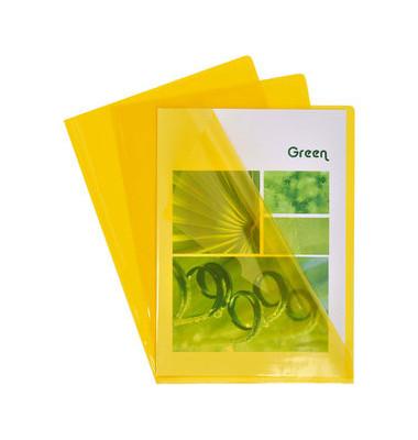 Sichthüllen 660535E, A4, gelb, klar-transparent, glatt, 0,13mm, oben & rechts offen, PVC