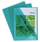 Sichthüllen 660595E, A4, grün, klar-transparent, glatt, 0,13mm, oben & rechts offen, PVC