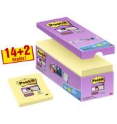 Haftnotizen Super Sticky Canary gelb 76x76mm 14+2 Stück