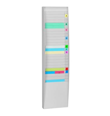 Wandprospekthalter hoch 1x25 Fächer A4 grau, Außenmaß:112x27,3x12,9