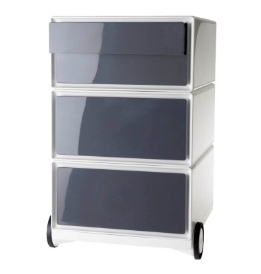 Rollcontainer easyBox, 2 Schübe, 1 Doppelschublade, weiß/anthrazit