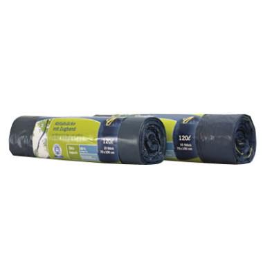 Abfallsäcke mit Zugband 120L bl 70x100+5cm 10 St