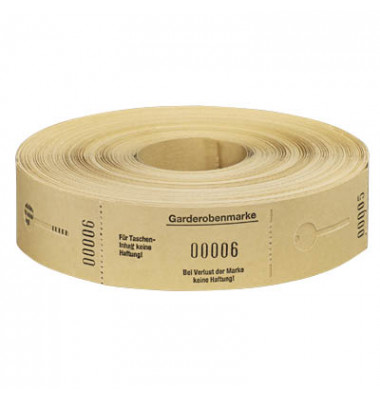 Garderobenmarken W&A 1-500 gelb Nr.675002 Rolle