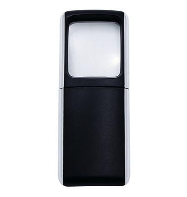 Rechtecklupe 3-fach m.LED schwarz m.Batt.