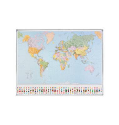 Politische Welt Karte 98x142 cm magnet.