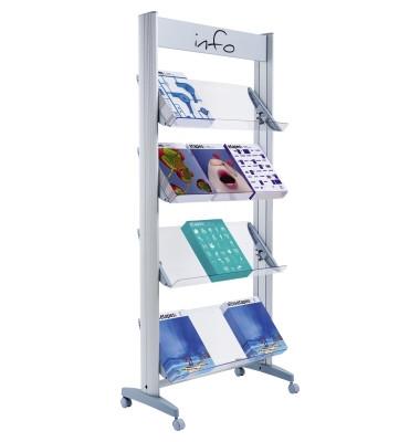 Paperflow Prospektständer Mobile Alu Für 12 Prospekte 1678x72x385cm