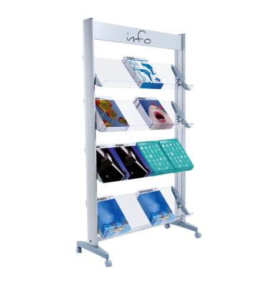 Paperflow Prospektständer Mobile Alu Für 16 Prospekte 1678x94x385cm