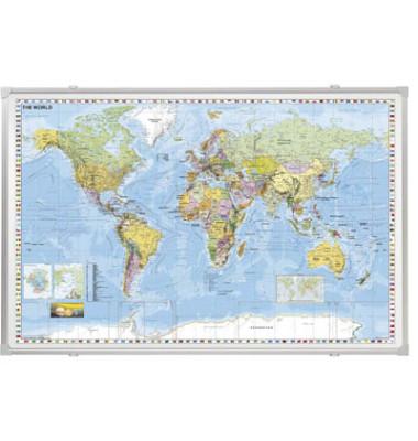 Landkarte Welt 1:33000000 138x88cm magnetisch