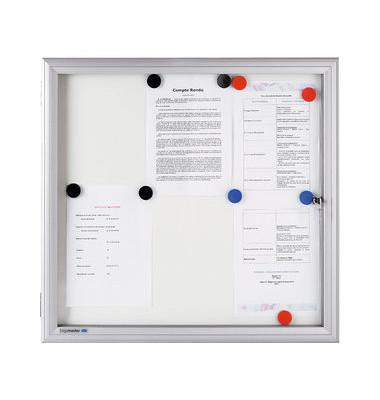 Schaukasten Premium 6 x A4 Metallrückwand weiß, silber magnetisch