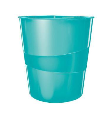 Leitz Papierkorb 5278 WOW 15 Liter eisblau metallic