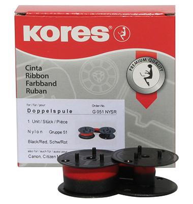 Tischrechnerfarbband G051NYSR Gr.51 13mmx4m Nylon schwarz/rot
