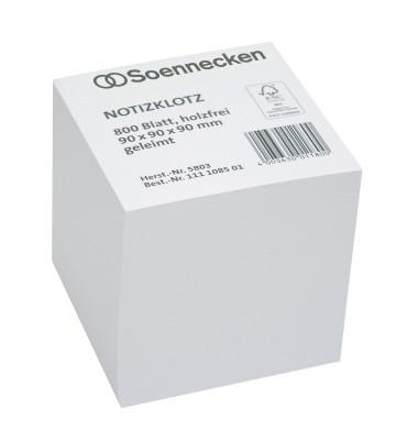 Notizklotz weiß 9 x 9 x 9 cm geleimt 800 Blatt